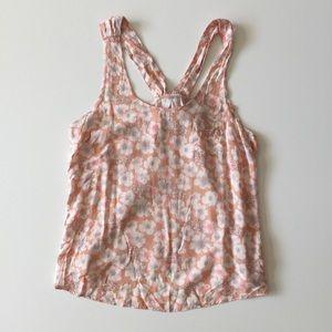 Lauren Conrad LC Peach Floral Tank Top Size XL